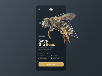 Save the bees - mobile landing minimalist responsive save the bees landing landingpage landing design landing page ui landingpage design dark ui ui ux bee bees home clean interface minimal