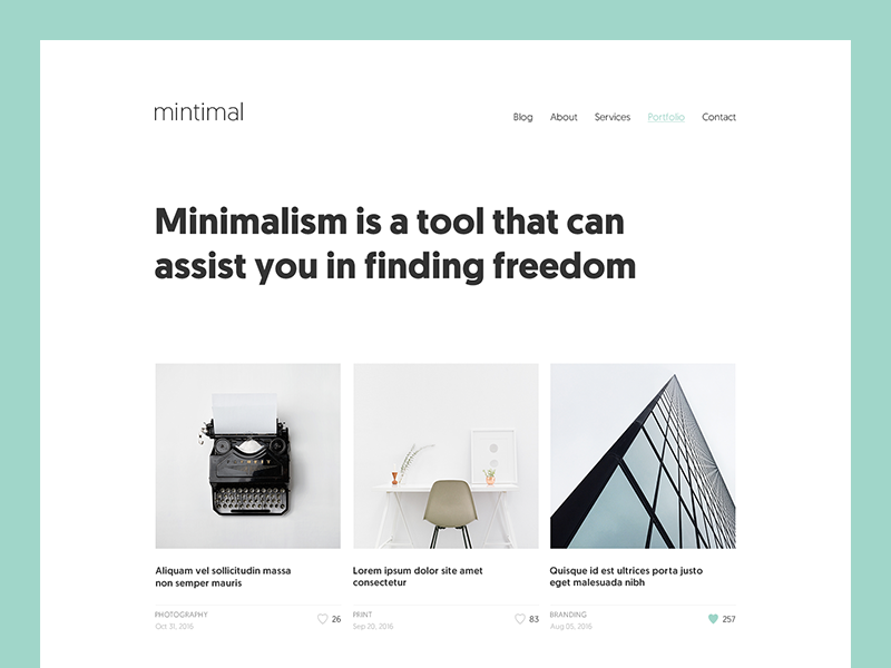 mintimal: Portfolio simple personal clean ux grid mint minimalist minimal portfolio