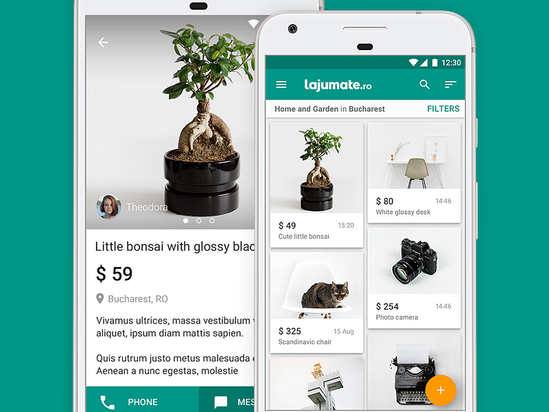 Classifieds Mobile App material design ux pixel native account list cards ads classifieds android mobile app