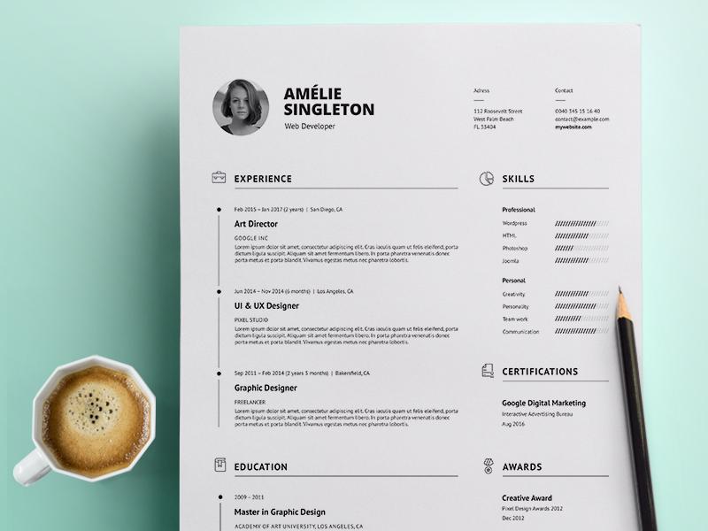 Professional Resume modern resume minimal resume clean resume creative resume professional template word template curriculum vitae cv template resume template docx cv resume
