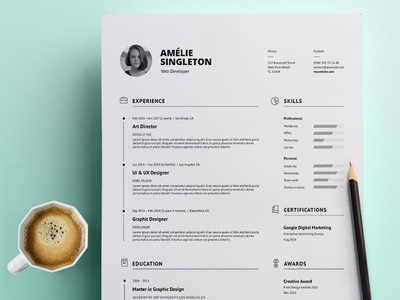 Professional Resume modern resume minimal resume clean resume creative resume professional template word template curriculum vitae cv template resume template docx cv resume