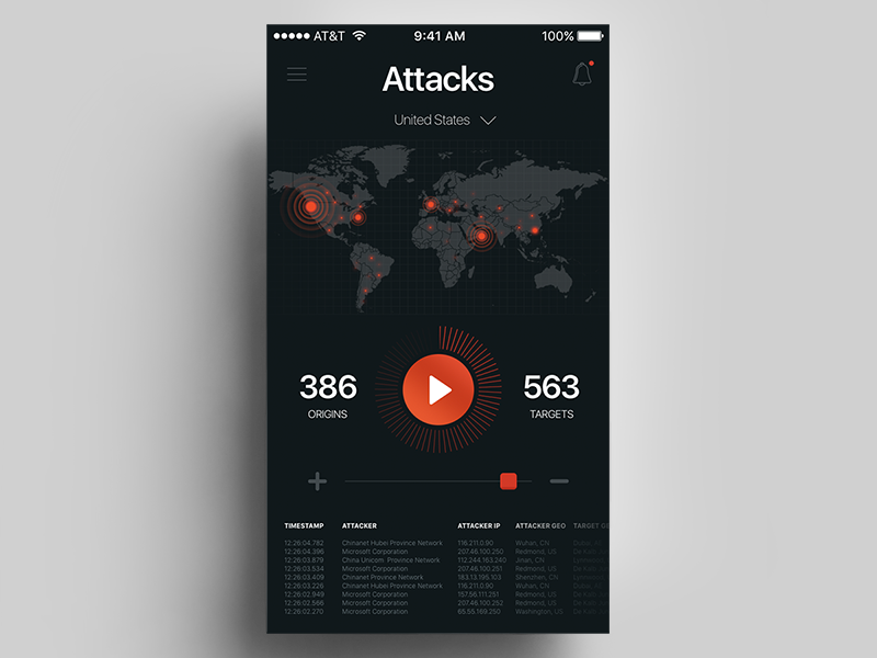Cyber Attacks Radar stats interface dark orange black ui map world radar global app mobile