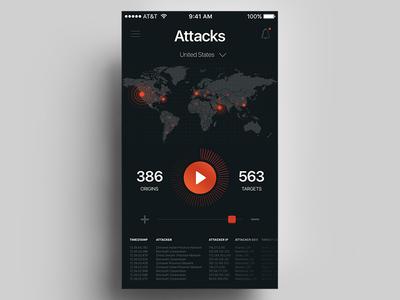 Cyber Attacks Radar stats interface dark orange black ui map world radar global app mobile
