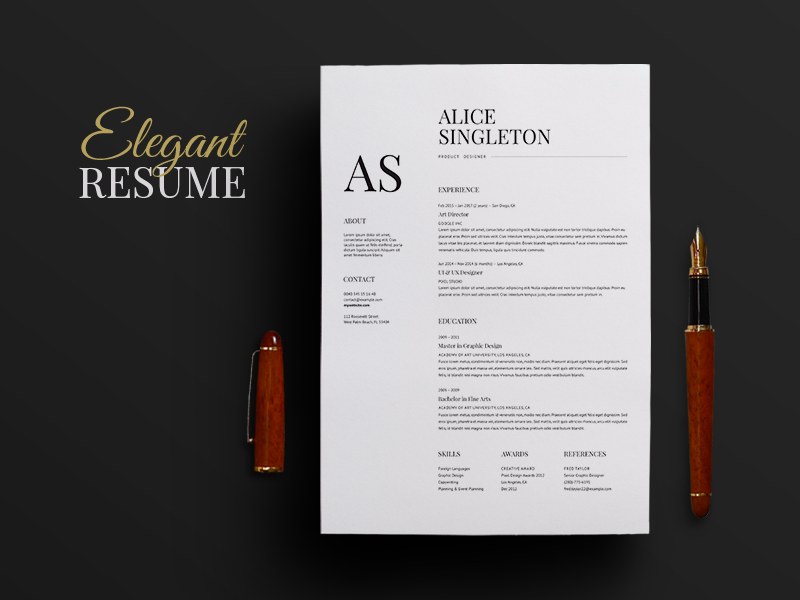 elegant resume by horea nicodin