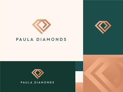 Paula Diamonds logo vector mark gradient logo brand identity branding luxury logo elegant diamond logo