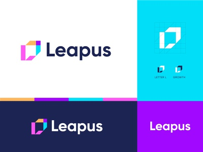 Leapus brand identity idendity modern logo vibrant color colors technology logo growthlogo leap branding logo