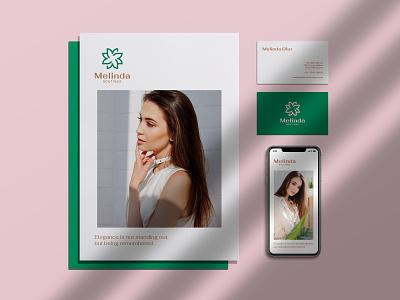 Melinda Boutique Branding  Stationary elegant design brand identity vector logo branding