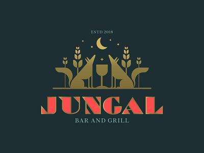 Jungal Bar and Grill illustration animal elegant design logo brand identity branding