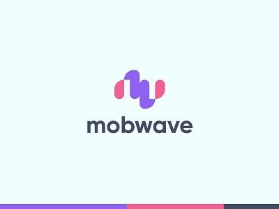 Mobwave Logo wave logo technology logo design brand identity branding logo