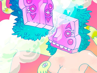 MA-NU-TA-YA snake girls mask magic poster illustration