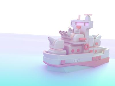 Tiny Warship illustration 3d ship war tiny
