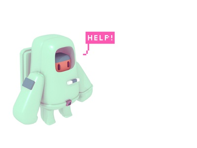 COSMO. character tiny astronaut 3d illustration