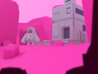 Cosmo scene concept game astronaut 3d illustration