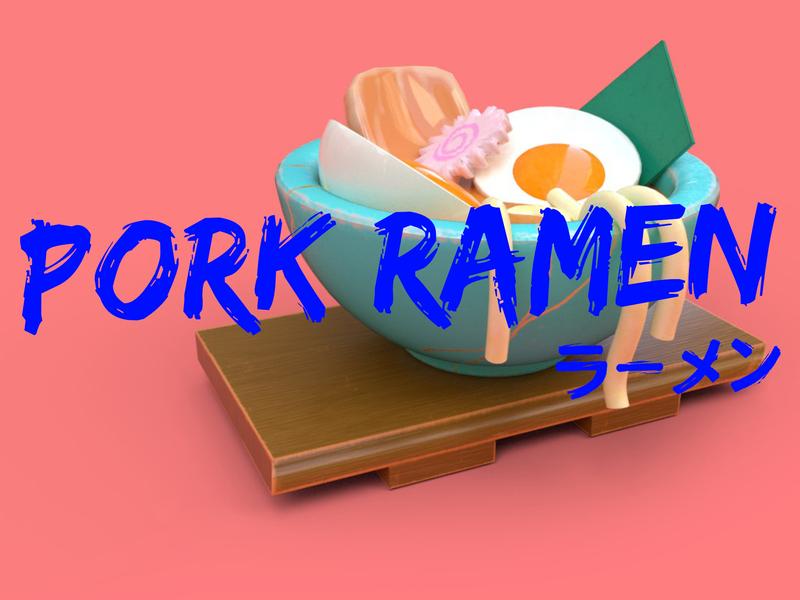 Pork Ramen illustration concept 3d ramen pork