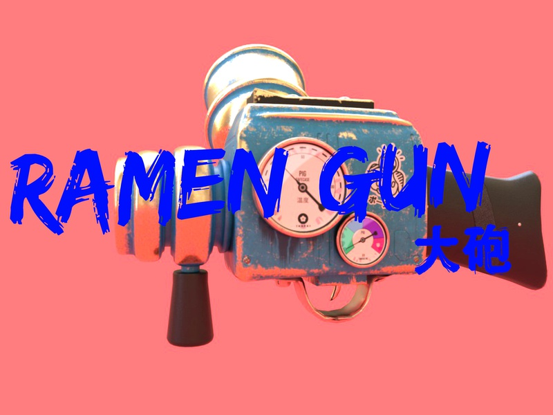 Ramen Gun gun concept illustration 3d ramen