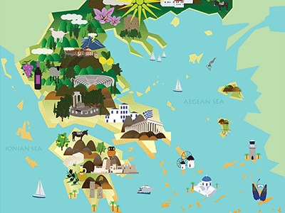 illustrated map of greece by valentina stefanidis dribbble dribbble
