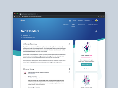 Visual redesign concept: Seek profile digital web design
