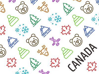 Icon print pattern canadian canada pattern print decorative set icon icons illustration vector digital