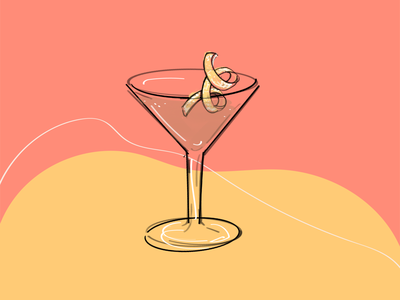 Martini Cocktail Illustration colorful line drawing line art procreate lemon martini cocktail illustration hand drawn