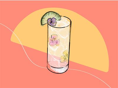 Floral Gin Cocktail Illustration gin drink flowers summer line art lime floral hand drawn cocktail illustration