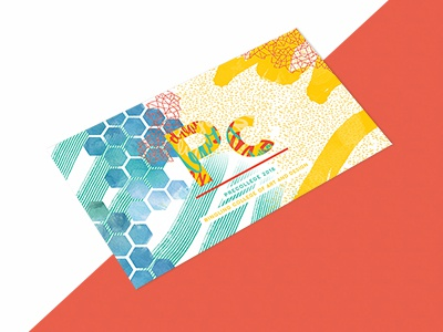PreCollege Postcard hand drawn artsy college lettering brushes hexagon teal gometric texture postcard