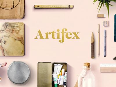 Artifex pale pink logo mark craft retail ecommerce gold logo