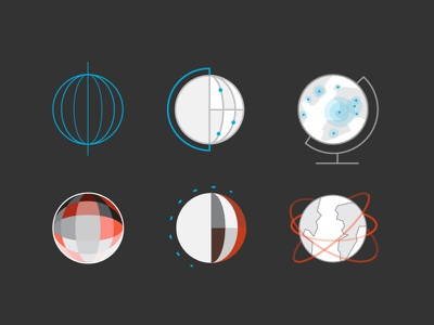 Global Explorations mono line circle planet earth global world icons map globe