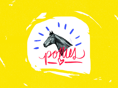 Ponies bright colors texture pony horse hand lettering collage grunge