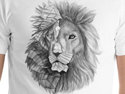 Polygonal Pencil Drawing Lion T Shirt By Ermir On Dribbble