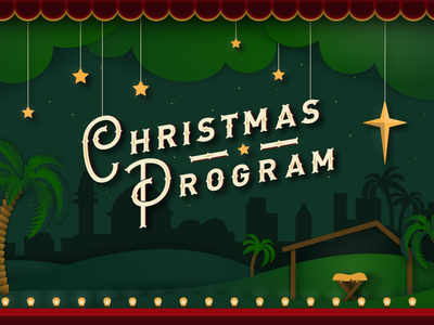 Christmas Program stage night stars bethlehem typography kids christmas