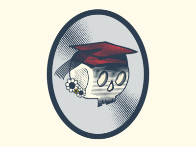 Graduation graduation ghost vintage vector icon blackandwhite art adobe design color branding badge logo texture illustration skull