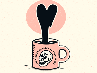 Black Coffee heart coffee ghost skull vintage vector icon art adobe blackandwhite design color branding badge logo texture illustration
