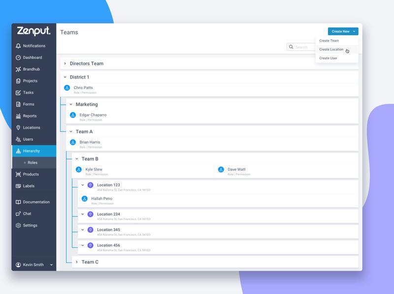 ZP Hierarchy View color create teams ux ui sass interface app