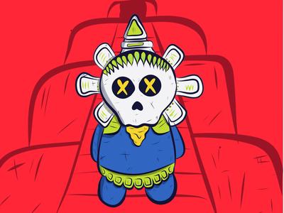 Monito Azteca mexico aztec skull colors ipad draw doodle illustration character