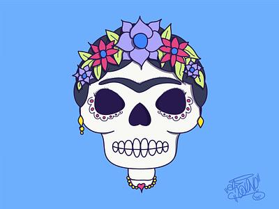 La Frida frida blue art mexican color skull sugar skull halloween character ipad pro adobe draw ilustration