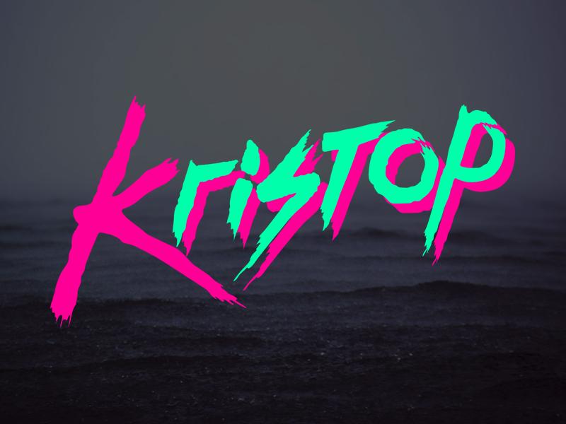 Kristop Branding logo brand brush script 80s digital rad