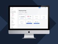 Plataform aplication management shipping ecommerce logistic setup app ui ux interaction dasboard