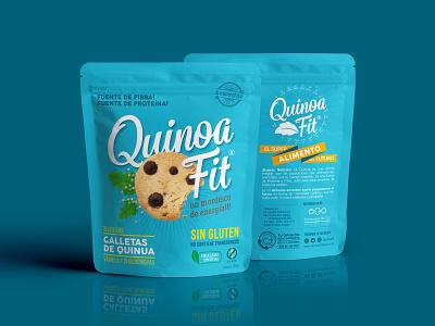 Quinoa Fit coffee telmo cuenca ecuador fitness snacks sweet cyan chips chocolat healthy cookies packaging