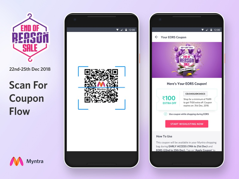 Scan QR Code For Coupon by manas modi for Myntra on Dribbble