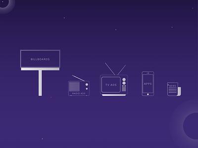 UGM - Iconset billboard newspaper mobile tv icon set icons brand web-design ui