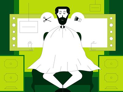 Abo Shanab Illustrations & Iconset shops barber green branding ux ui characters illustrations