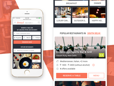 dineout - Home Page / Landing Page #2 home food android ios booking table reservations events restaurants dinning mobile msite