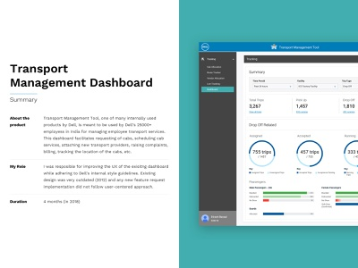Dell - Transport Management Dashboard Tool analytics deck design request cancelling routing employees vehicles design web flat clean dell dashboard management tool transport