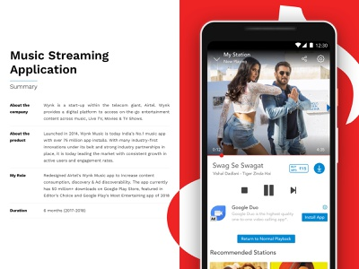 Wynk Music - Music Streaming Application play redesign sound wynk music ui app streaming clean player music gaana spotify airtel