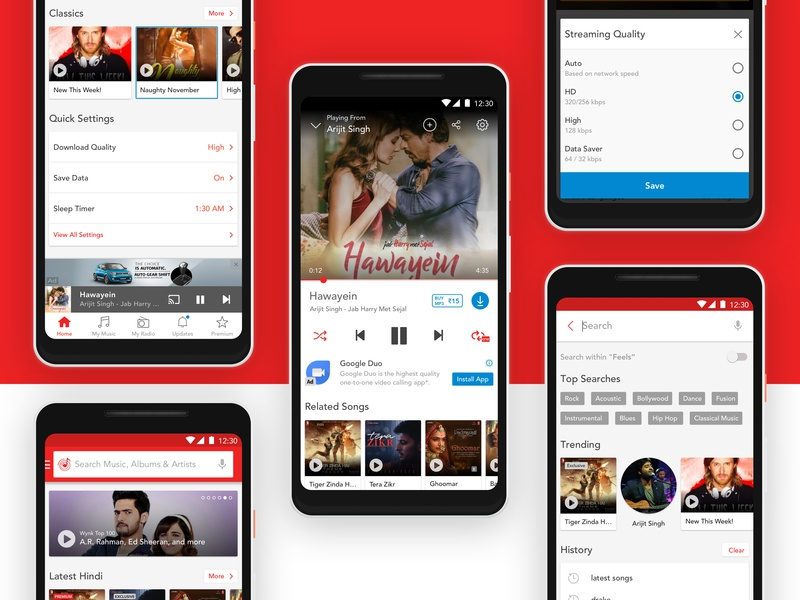 Wynk Music - Home, Player, Search by Visal Medepalli on Dribbble