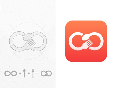 Foody - fastfood app logotype fork spoon design icons restaurant identity fast food logotype logo food branding