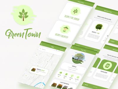 Green Town brand design innovate startups nature greentech ux ui mobile app eco