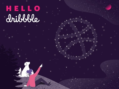 Hello Dribbble! illustration purple pink dribbble constellation stars universe space hello dribbble