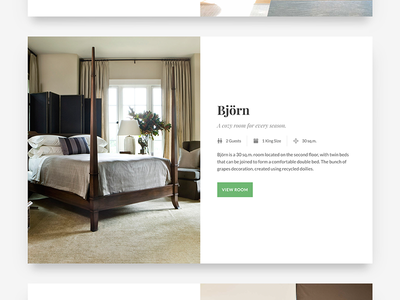 Hemma Room Card split screen bnb hemma wordpress theme one page resort guest house holiday house bb