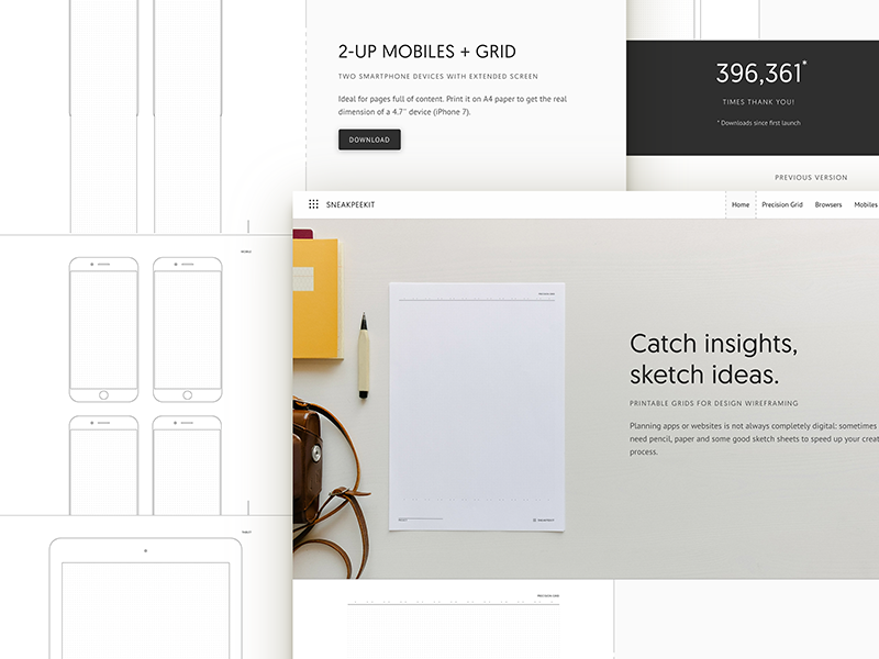 Sneakpeekit 2: Redesign + New Sheets freebie design free wireframing template pdf sheets sketch